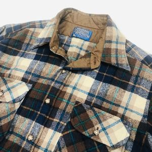 Pendleton Shirts - [Pendleton] Mens Vintage Brown Plaid Flannel Shirt